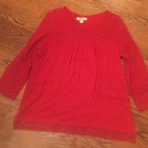 Vintage America bright red tunic with gorgeouslace